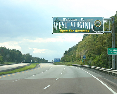 West Virginia festivals welcome sign