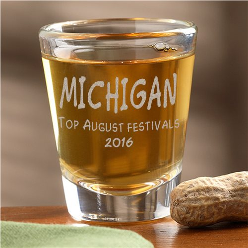 2016 August Michigan festivals shot glass